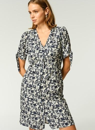 NGSTYLE Kadın Çiçek Desenli  Elbise NGKSS21EL0038 Lacivert